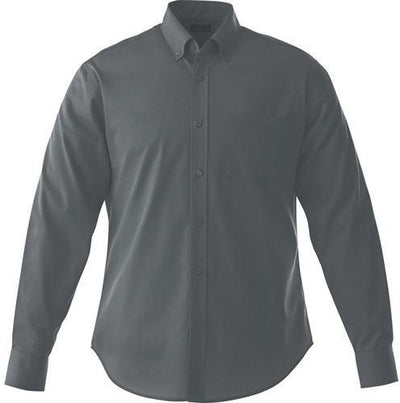 Elevate-WILSHIRE Long Sleeve Dress Shirt-S-Grey Storm-Thread Logic