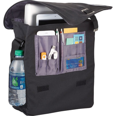 "Elevate-Gridlock Vertical 15"" Computer Messenger Bag-Black-Thread Logic"