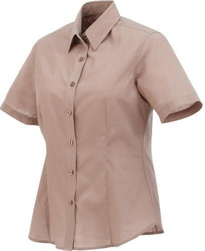 Elevate-Ladies COLTER Oxford Short Sleeve Dress Shirt-XS-Tan-Thread Logic