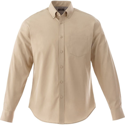 Elevate-WILSHIRE Long Sleeve Dress Shirt-S-Desert Khaki-Thread Logic