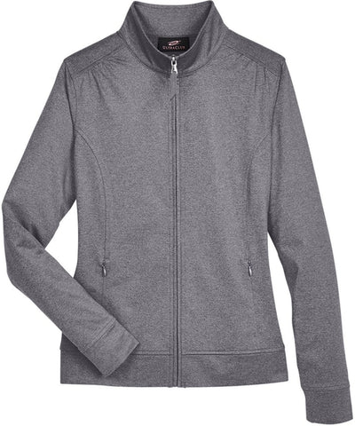 UltraClub Ladies Navigator Heather Performance Full-Zip