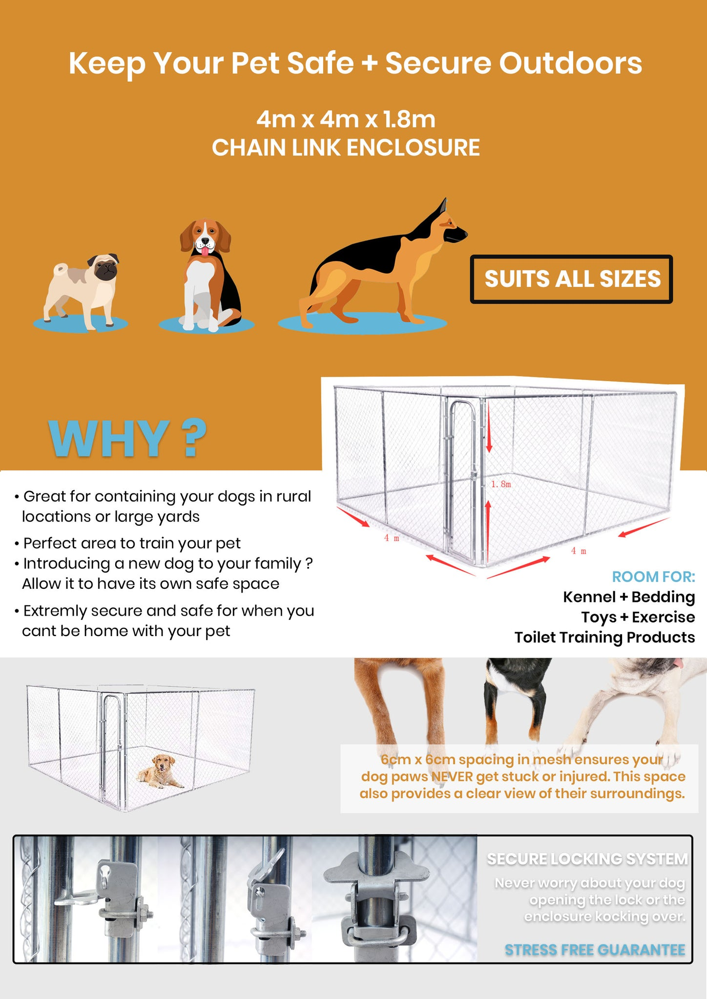 infographic about how the pet enclosure keeps your pet safe