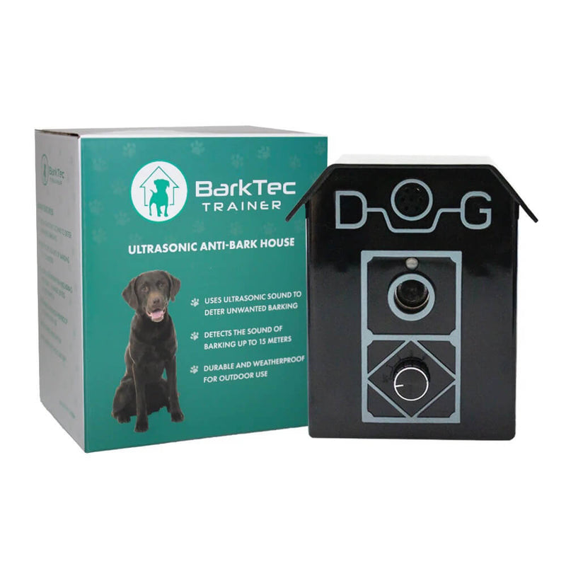 Black and silver barktec ultrasonic bark control device next to its green packaging