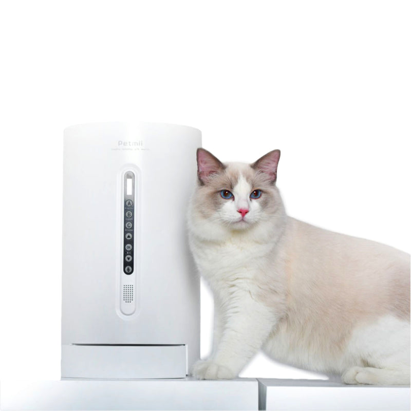 white cat standing next to the Petmii Smart Pet Cat Dog Feeder