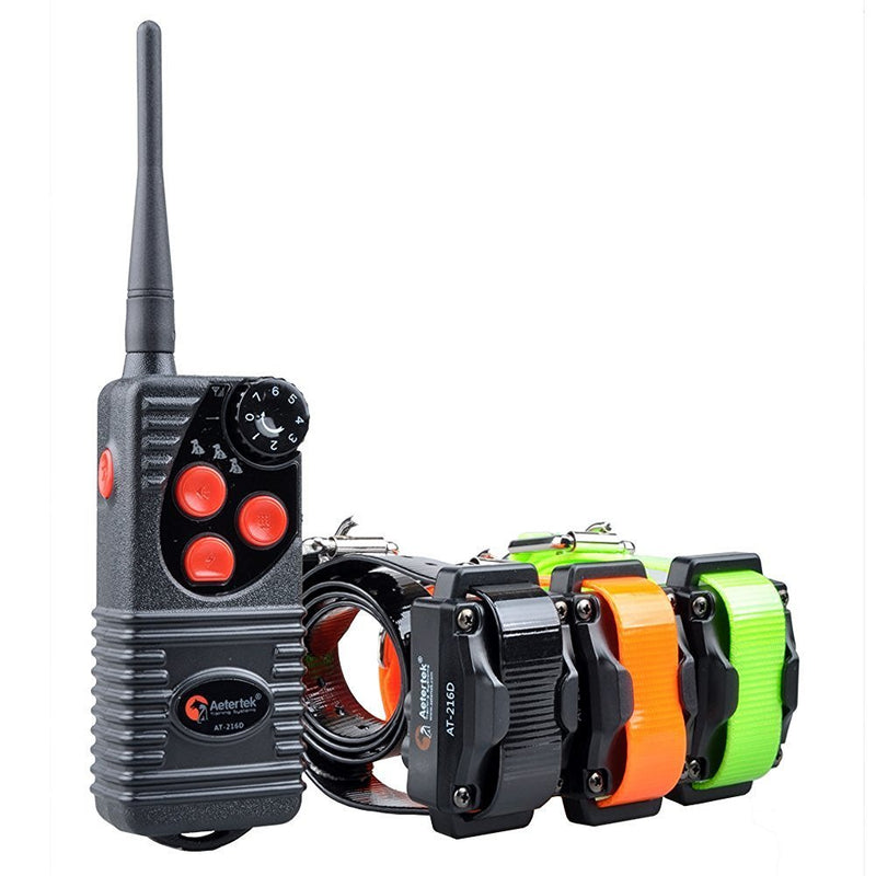 Aetertek AT-216D Remote Dog Training Collar in Orange, Black and green