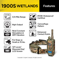 features of the DOGTRA 1900S WETLANDS Dog Remote Training Collar