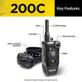 key features of the DOGTRA 200C™ 202C™ Dog Remote Training Collar on the collar and remote control