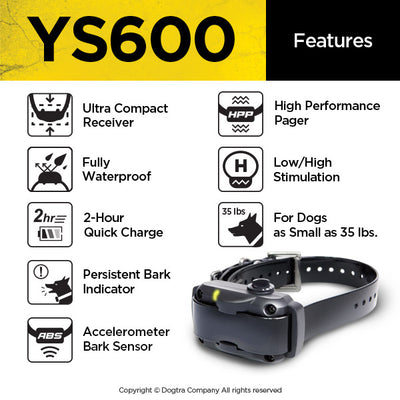 Dogtra YS600 Dog Bark Collar-Medium Large Stubborn Dog