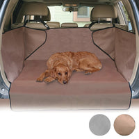 large dog on the brown economy cargo car cover