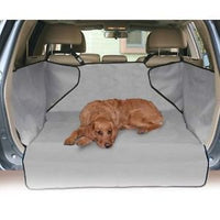 large dog on the grey version of the cargo cover dog car seat cover