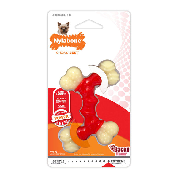 Nylabone Power Dual Chew Bone Bacon Chew Toy
