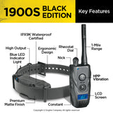 Key features of the collar and remote control for the Dogtra 1900s black remote training system