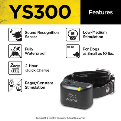 features of the dogtra ys300 anti bark collar