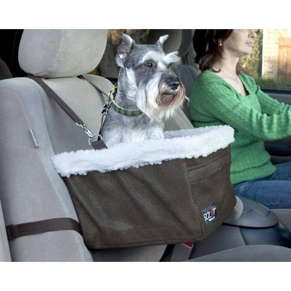 medium dog using the Solvit Tagalong Pet Booster Seat in a car