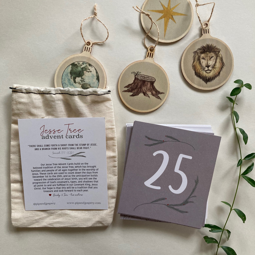 Jesse Tree Advent Cards + Ornaments Bundle
