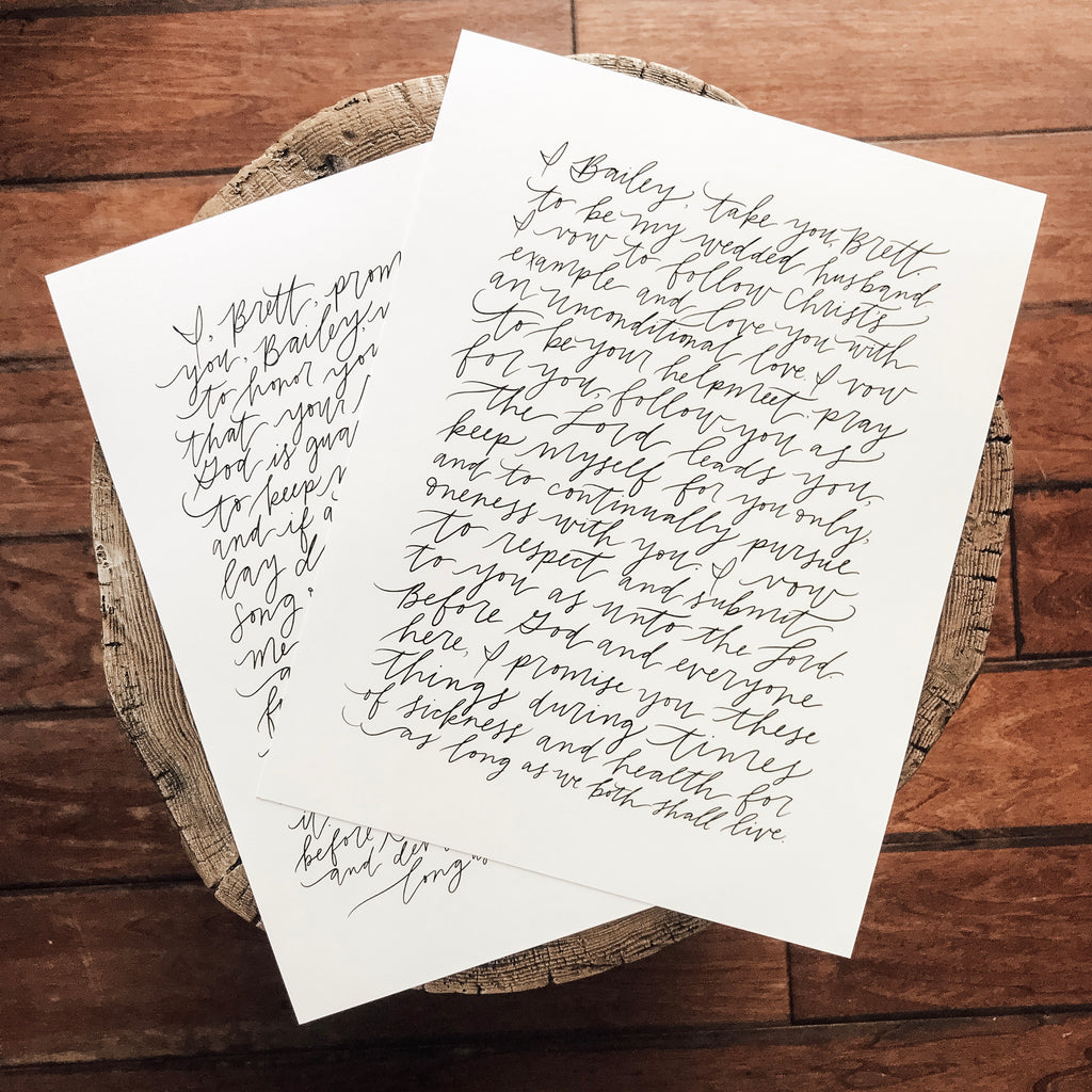 Custom hand-lettered Wedding Vows