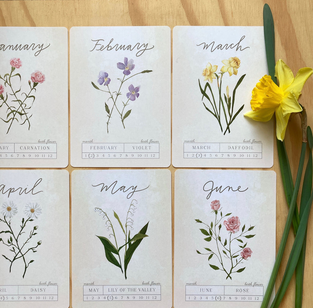 Birth Month Botanical Cards