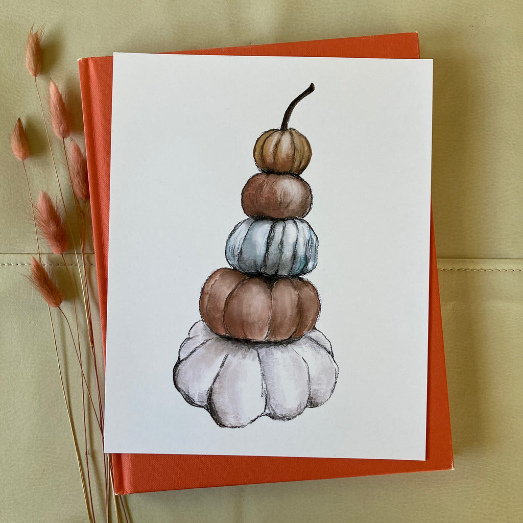 Watercolor Pumpkin Stack