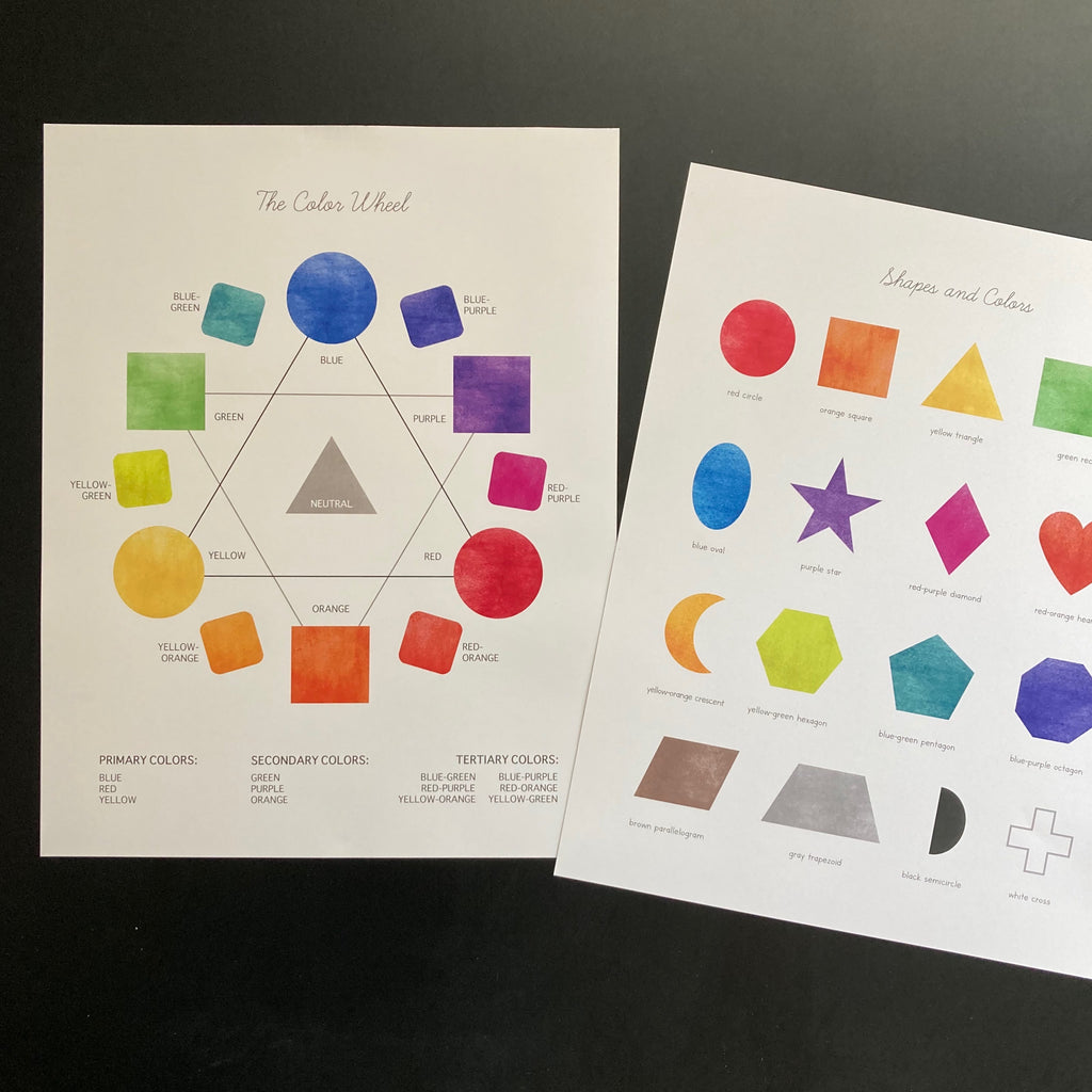 Watercolor Shapes + Colors Poster