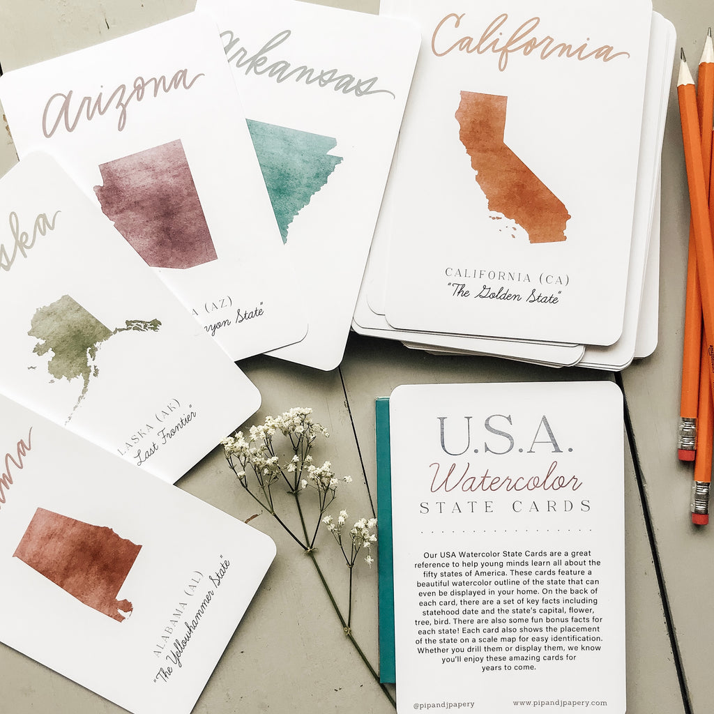 USA Watercolor State Cards