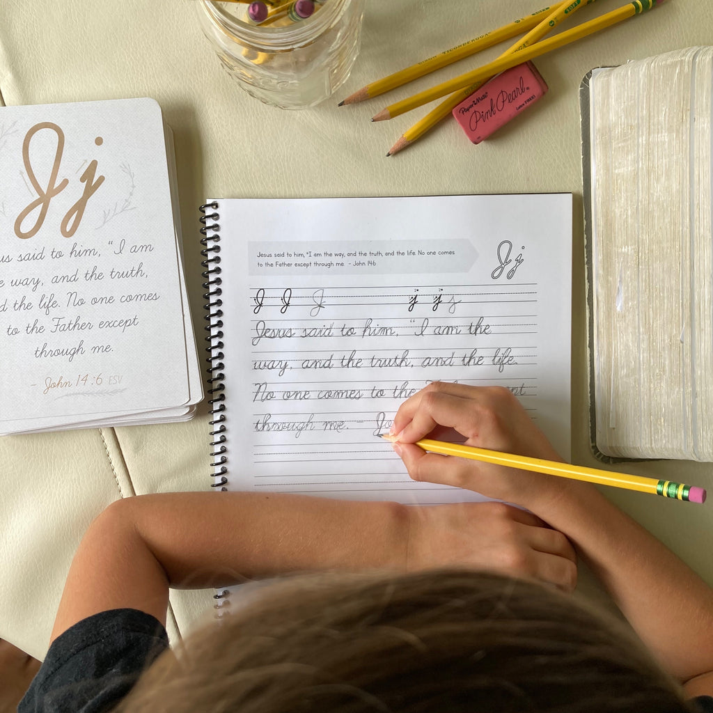 Cursive ABC Scripture Memorization Cards & Workbook BUNDLE