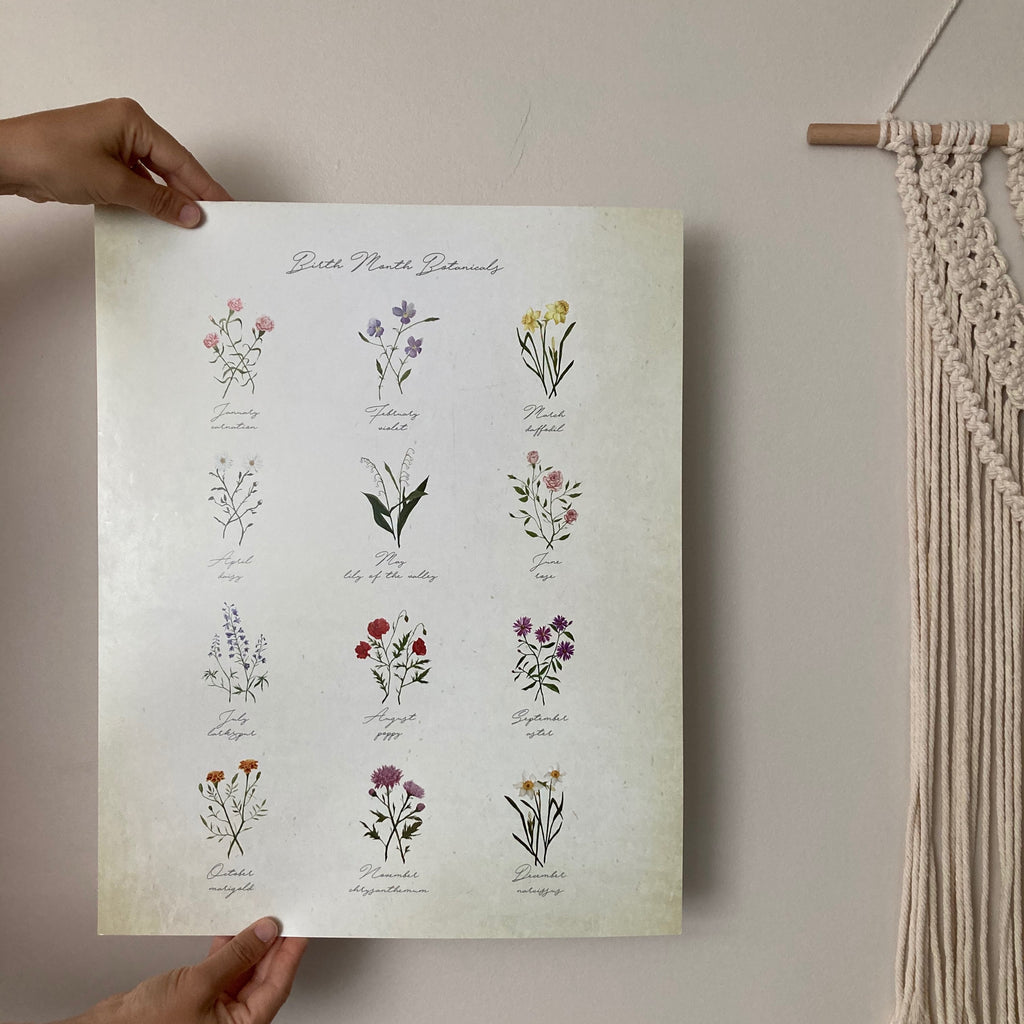Birth Month Botanical Poster