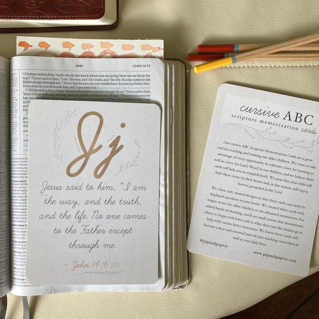 Cursive ABC Scripture Memorization Cards