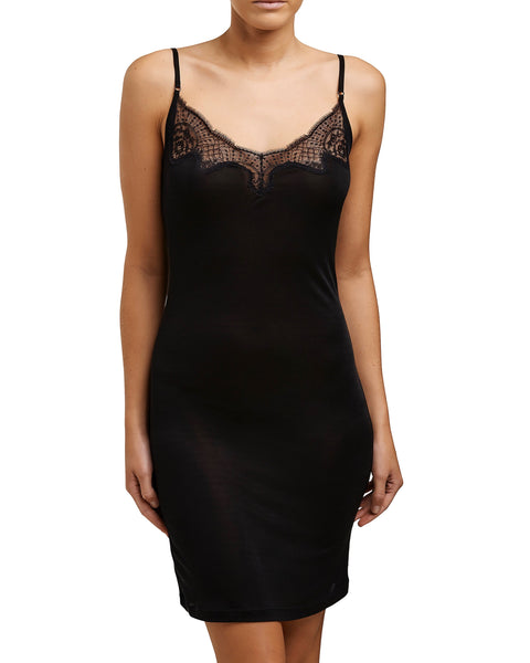 Love&Lustre - Silk Jersey Lace Slip - Black