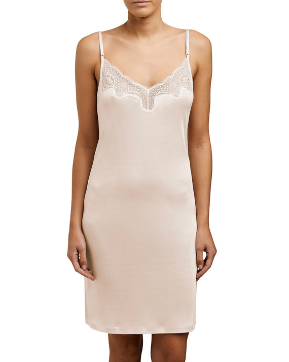 Love&Lustre - Silk Jersey Lace Slip - Petal