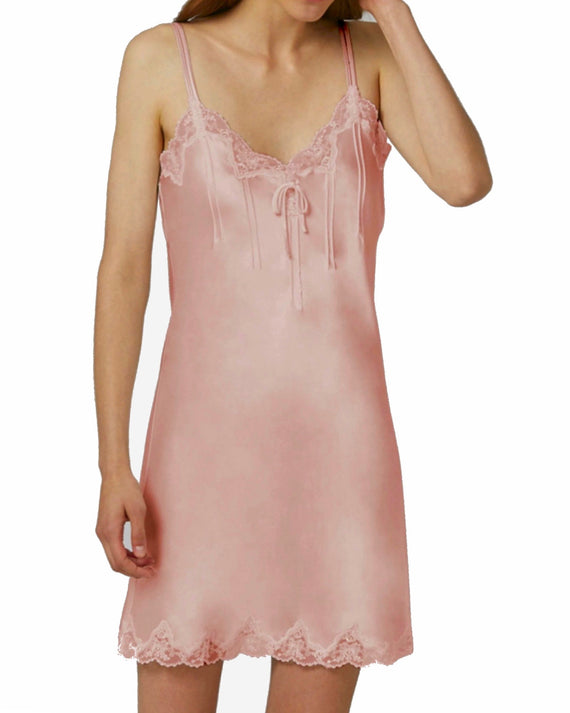 Ginia - Silk & Lace Chemise with Pintucks - Quartz