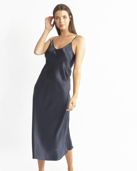 Love&Lustre - 3/4 Length Silk Chemise - Navy