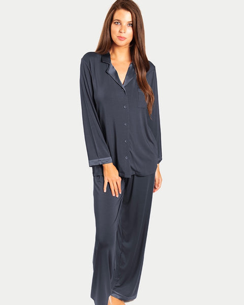 Love&Lustre - Premium Modal Silk Trim PJ Set - Nightshade