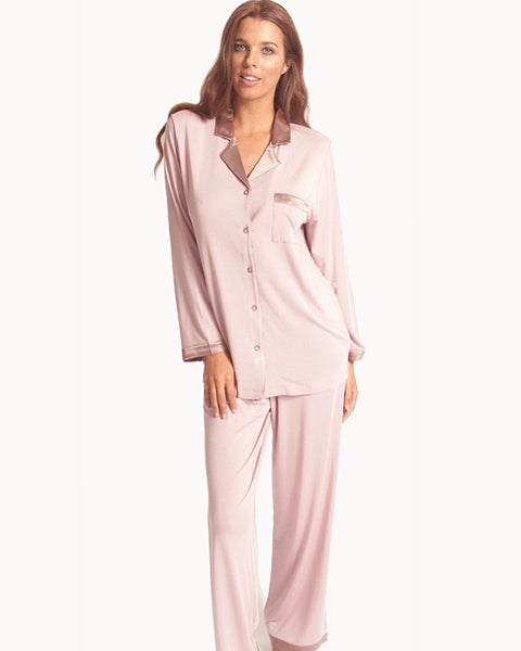 Love&Lustre - Premium Modal Silk Trim PJ Set - Blush