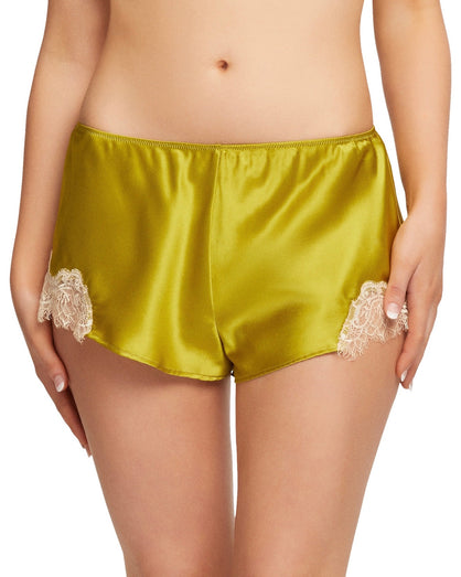 Sainted Sisters - Scarlett Silk French Knicker - Chartreuse & Vintage