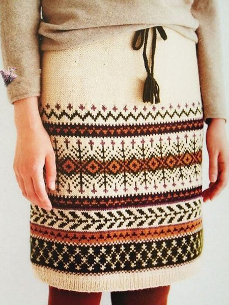 Beige Casual Geometric Wool Blend Skirts