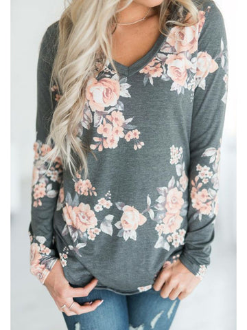 Gray Casual Floral Long Sleeve Cotton Tops