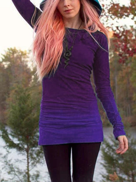 Long Sleeve Cotton-Blend Ombre/tie-Dye Hoodie Dresses