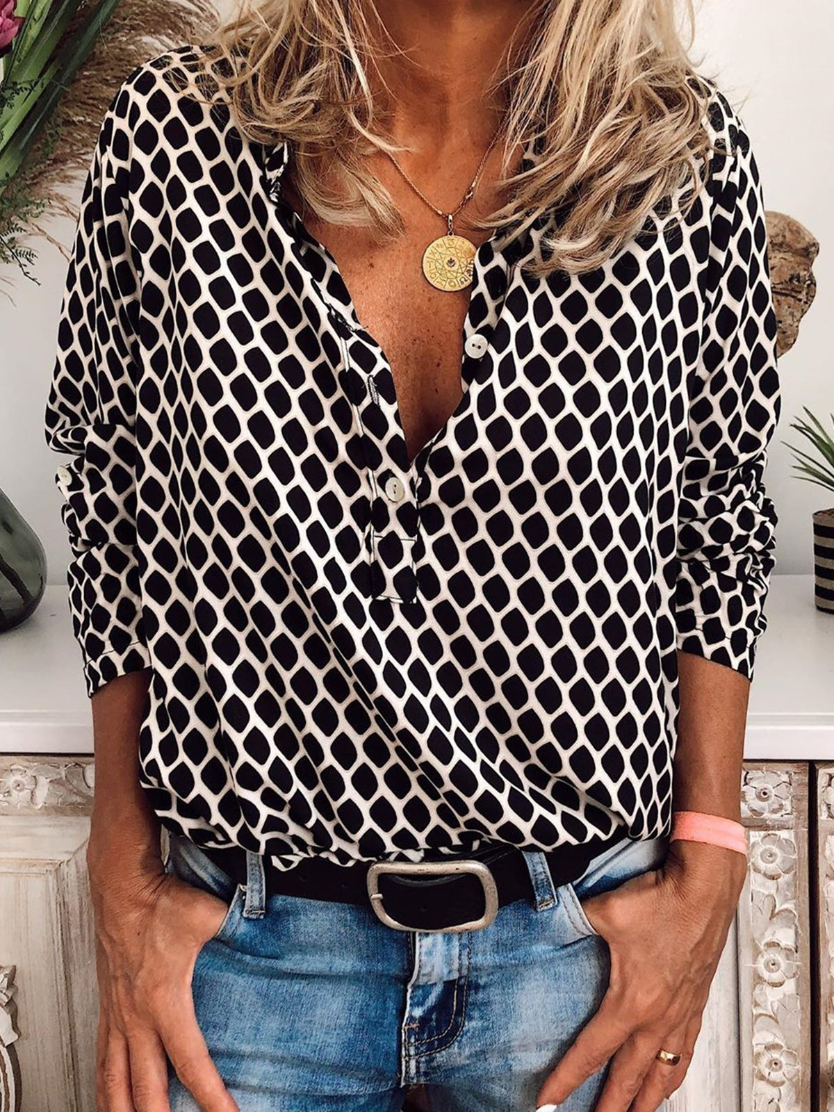 Plus Size Long Sleeve V Neck Polka Dots Casual Tops