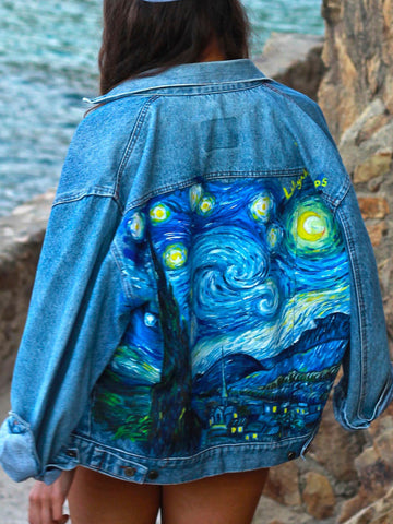 Floral-Print Abstract Vintage Denim Outerwear