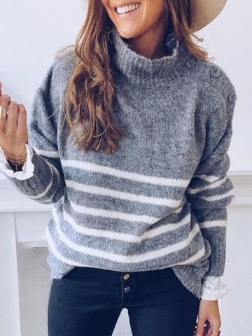 Plus Size Casual Knitted Turtleneck Long Sleeve Sweater