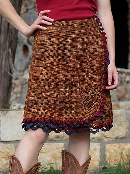 Brown Casual Wool Blend Skirts