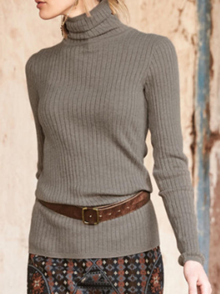 Vintage Plain Turtleneck Long Sleeve Sweatshirt