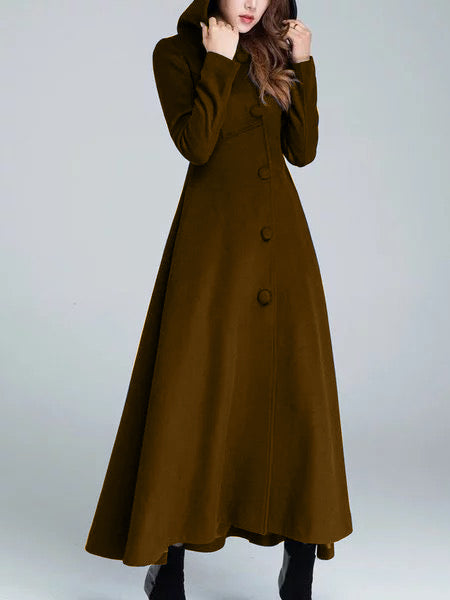 Vintage Plain Long Sleeve Outerwear