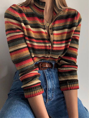 Multicolor Plus Size Long Sleeve Striped V Neck Casual Sweater