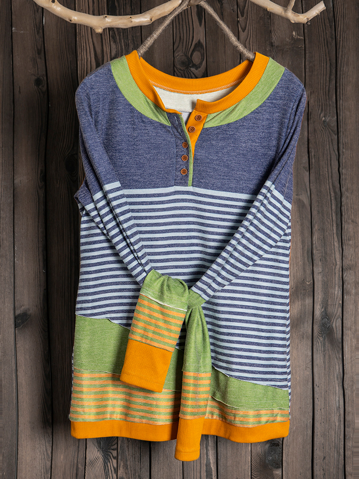 Plus Size Striped Paneled Casual T-Shirts