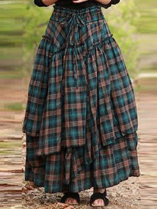 Cotton-Blend Checkered/plaid Skirts