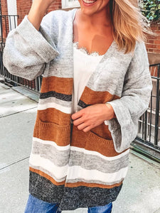 Plus Size Striped Long Sleeve Casual Sweater