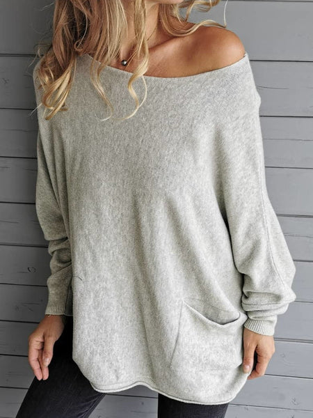 Plus Size Casual Pockets Solid Long Sleeve Sweater