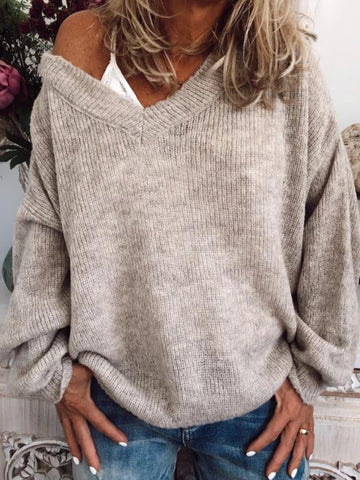 Plus Size Casual V Neck Long Sleeve  Sweater