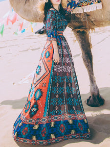Blue Casual Tribal Dresses